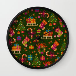 christmas x stitch pattern for the holiday mood Wall Clock