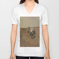 nasa V-neck T-shirts featuring NASA Curiosity Rover's Self Portrait at 'John Klein' Drilling Site in HD by Planet Prints