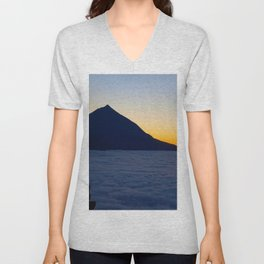 Teide volcano and sea of clouds in Tenerife, Canary Islands Unisex V-Neck