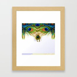 GORGEOUS BLUE-GREEN PEACOCK FEATHERS ART Framed Art Print