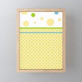 Yellow Dots, Blue, Green, Dots, Circles Framed Mini Art Print