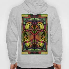 Yellow Red and Green Art Nouveau Stained Glass Hoody