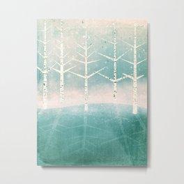 Winter birches by the lake Metal Print