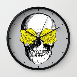 Skull and Roses | Grey and Yellow Wall Clock