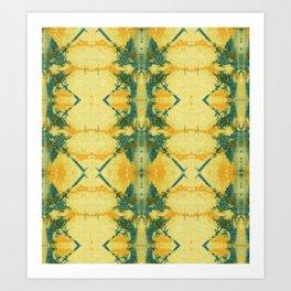 Radiant Yellow Indigo Shibori Art Print