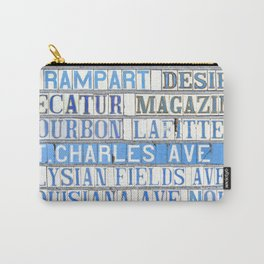New Orleans Street Names Tile Art Word Typography Letters French Quarter Uptown Marigny Carry-All Pouch