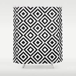 Black and white watercolor diamond pattern Shower Curtain
