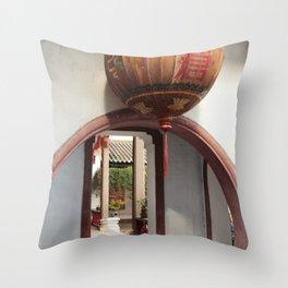 orbs over courtyard corridors Throw Pillow