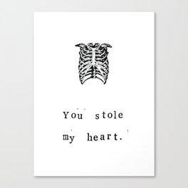 You Stole My Heart Anatomy Print Canvas Print