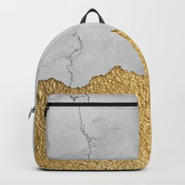 Gold torn & Grey marble Backpack