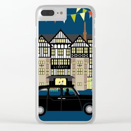 Art Print of Liberty of London Store - Night with Black Cab Clear iPhone Case