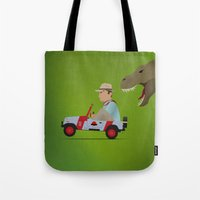 jurassic park Tote Bags featuring Jurassic Park by DWatson