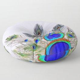 GREEN PEACOCK FEATHER & JEWELS #2 Floor Pillow