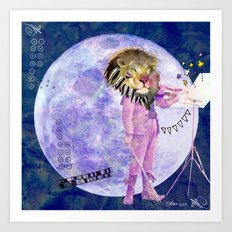 Moonlight Lion Strings  Art Print