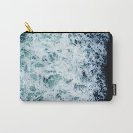 Emerald-Opal-Color Ocean Waves Enveloping Black Sand Beach Carry-All Pouch