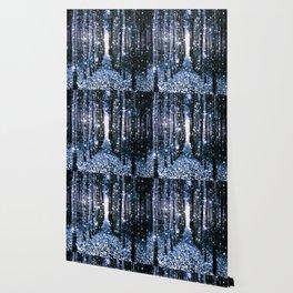 Magical Forest Dark Blue Elegance Wallpaper
