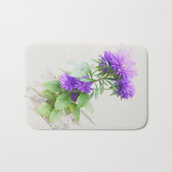 Purple Flowers, watercolors Bath Mat
