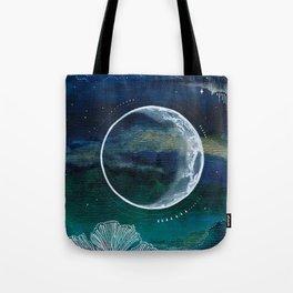 Crescent Moon Mixed Media Painting Tote Bag