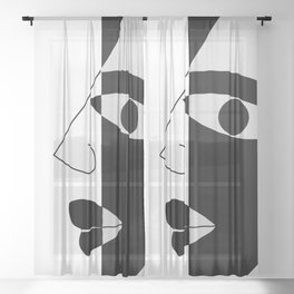 Black and white face Sheer Curtain