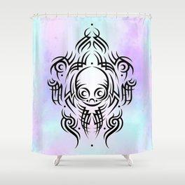 Alien Tribal Tattoo Shower Curtain