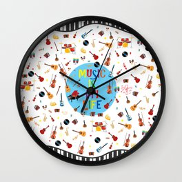 Music is my life (White) Wall Clock