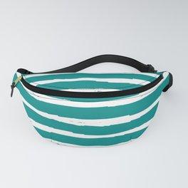 Blue Turquoise Dark Cyan Stripe Fanny Pack
