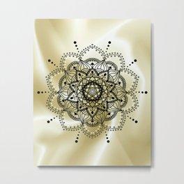 Gold and black mandala Metal Print