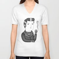 elvis V-neck T-shirts featuring Elvis by Ana Albero