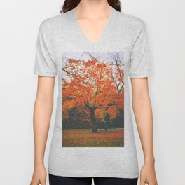 Bright Orange Fall Tree Unisex V-Neck