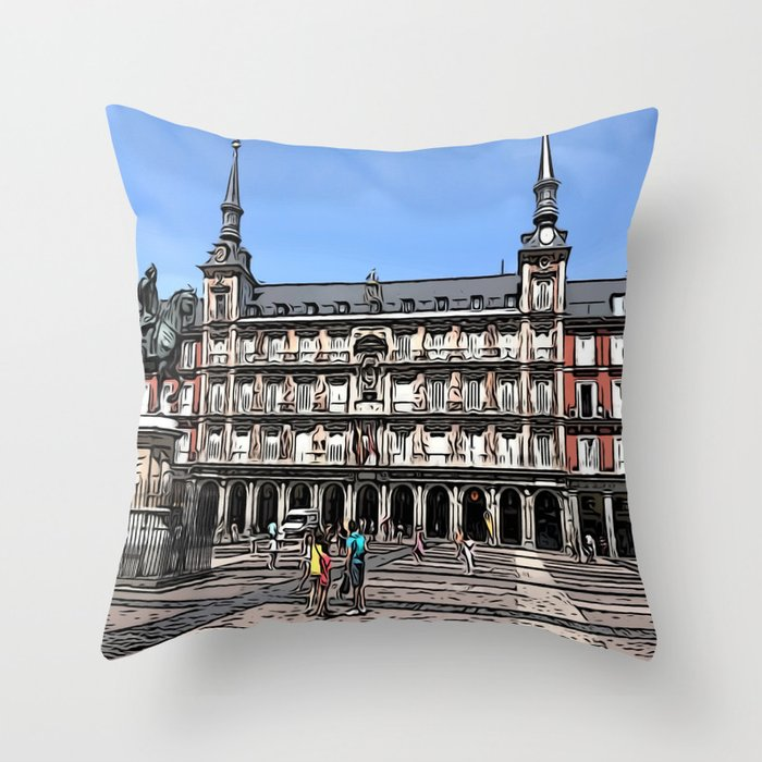 Comic Art of plaza in Madrid, Spain Throw Pillow