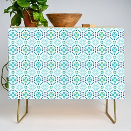 Floral Mosaic Turquoise Pattern Credenza