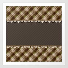 Brown plaid, plaid blanket, brown pattern, patchwork, folklore, rustic style, elegant pattern, plaid Art Print