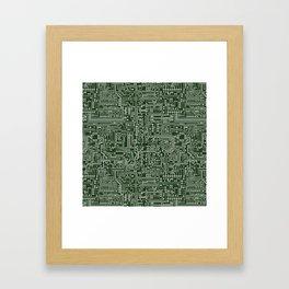 Circuit Board // Green & Silver Framed Art Print