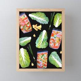 Kimchi Ingredients Fun Spicy Watercolor Black Framed Mini Art Print