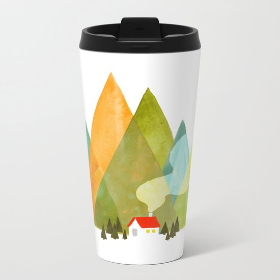 House at the foot of the mountains Metal Travel Mug