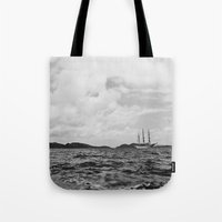 pirate ship Tote Bags featuring PIRATE SHIP by Eliesa Johnson