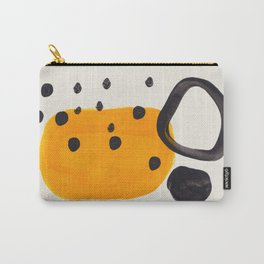 Unique Abstract Unique Mid century Modern Yellow Mustard Black Ring Dots Carry-All Pouch