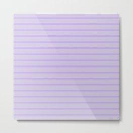 Lilac Monochrome Horizontal Stripes Pattern Metal Print