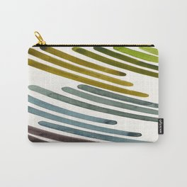 Olive Green Navy Blue Watercolor Colorful Stripes Mid Century Modern Art Primitive Abstract Art Carry-All Pouch