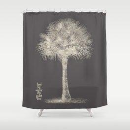 Palm tree - botanical silver illustration Shower Curtain