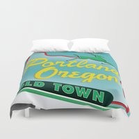 portland Duvet Covers featuring Portland by Casey Baggz