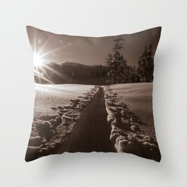 B&W Sunrise Backcountry Ski // Black and White Skin Track to Snowy Paradise Throw Pillow