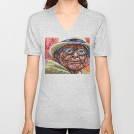 Woman in Glasses Unisex V-Neck