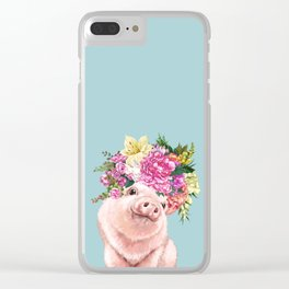 Flower Crown Baby Pig in Blue Clear iPhone Case