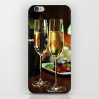 champagne iPhone & iPod Skins featuring champagne by laika in cosmos