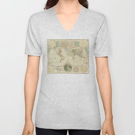 World Map by Carington Bowles (circa 1780) Unisex V-Neck