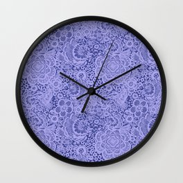 Birds and flowers in Blue Grey Lace Wall Clock