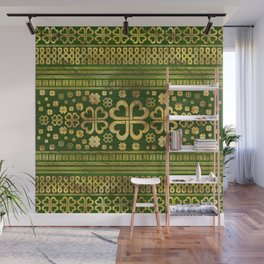 Shamrock Four-leaf Clover Green Wood and Gold Wall Mural