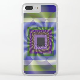 Blue Green Swirl Clear iPhone Case
