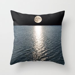 Ocean Moonlight | Moon Photography | Stars and Ocean | Night sky Throw Pillow